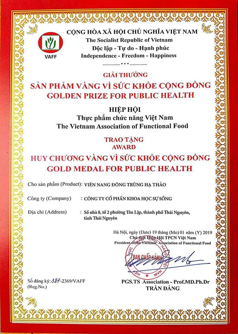 Huy chương vàng Sản phẩm Vì sức khỏe Cộng đồng VAFF CordyHappy